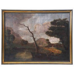 Large 19th Century Rustic River View