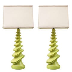 Pair of Plasto Lamps in Chartreuse
