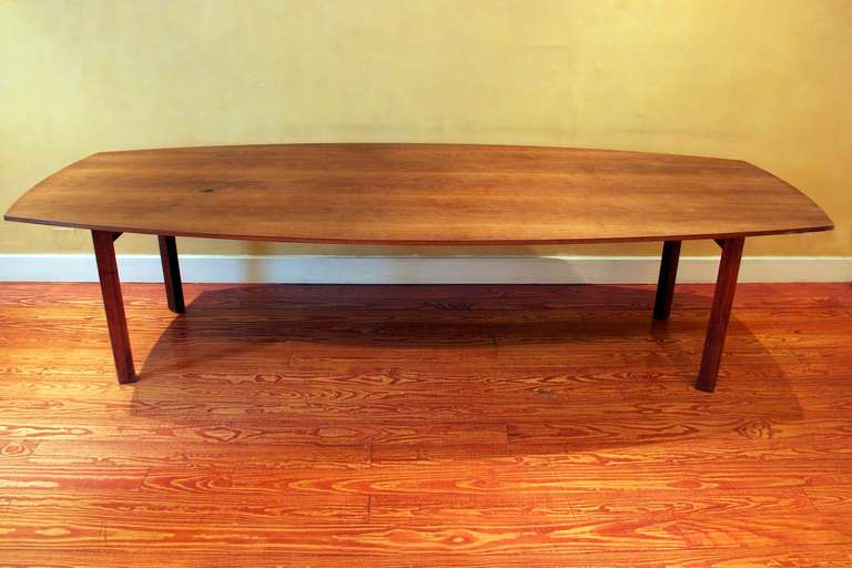 10 foot long walnut dining table attributed to jens risom