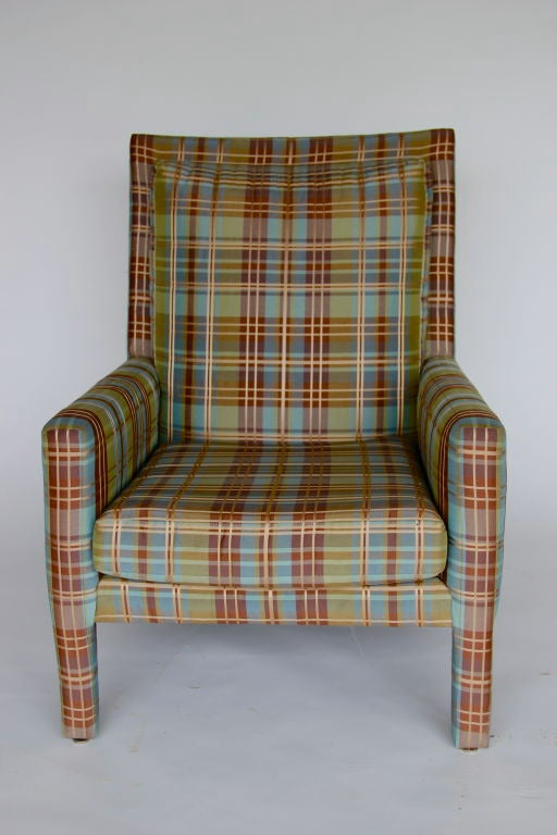 Quot Plaid 70 S Chair With Ottoman At 1stdibs