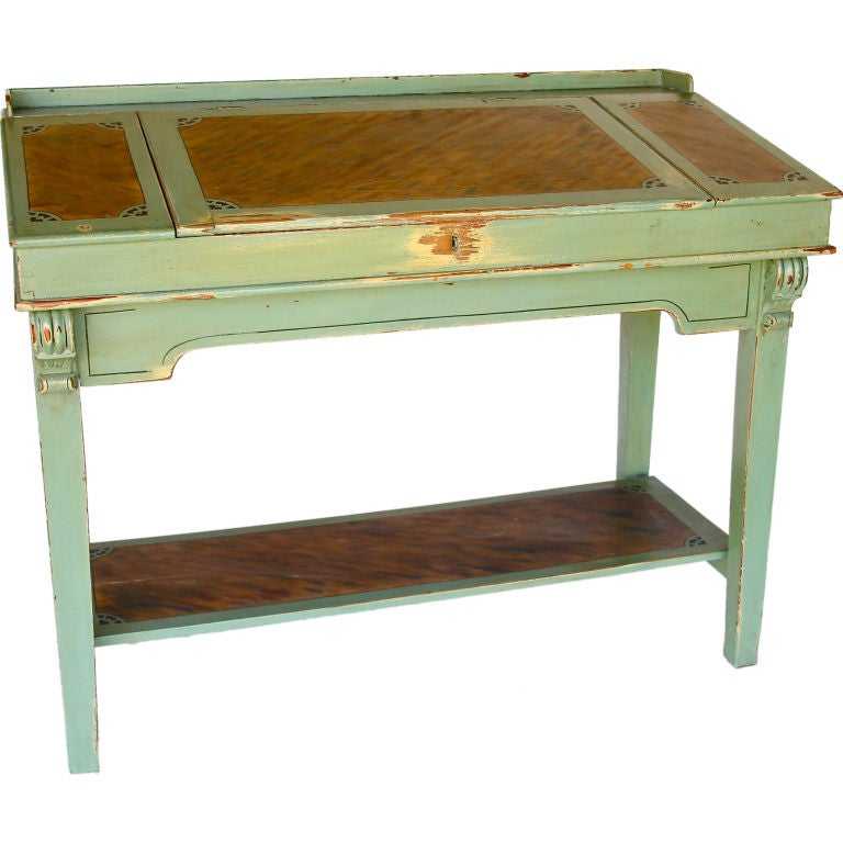 Tall Green Painted Writing Desk 1