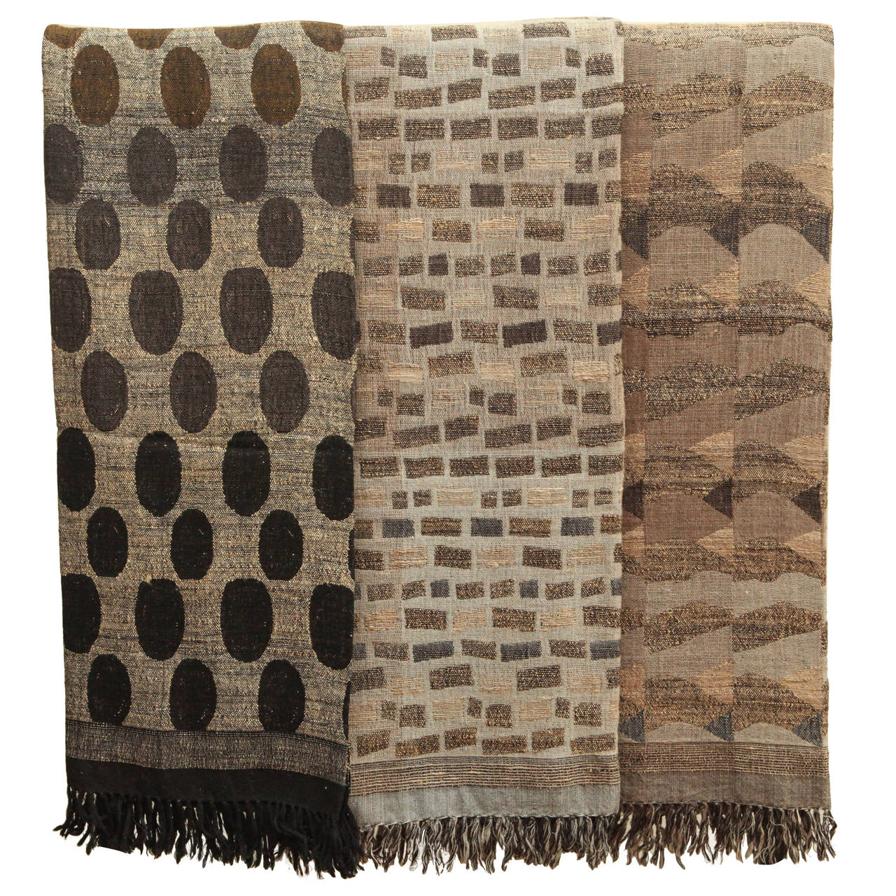 Indian Hand Woven Throws Black Brown Gray Beige Wool