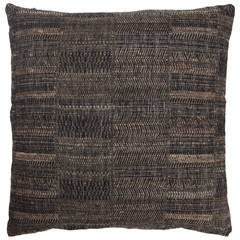 Indian Handwoven Pillow, Black and Beige, Wool and Silk