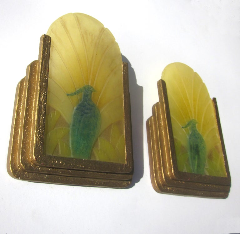 Art Deco Glass Wall Sconces : French Art Deco Pate de Verre Glass Wall Sconces at 1stdibs