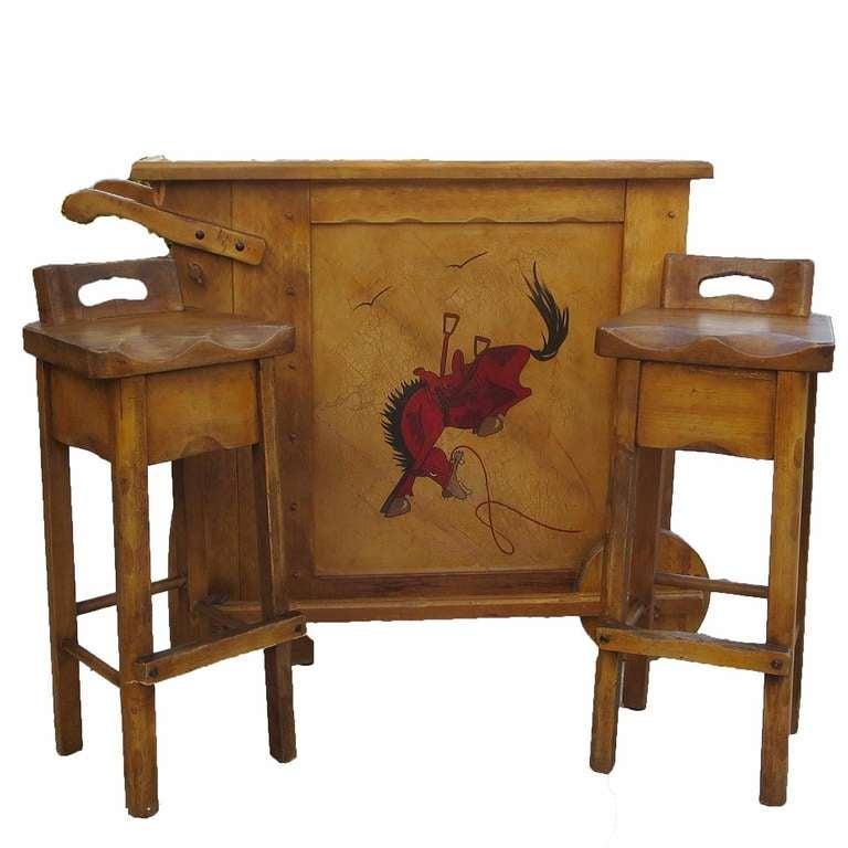 Whimsical Painted Mexicana Bar And Stools By Monterey At