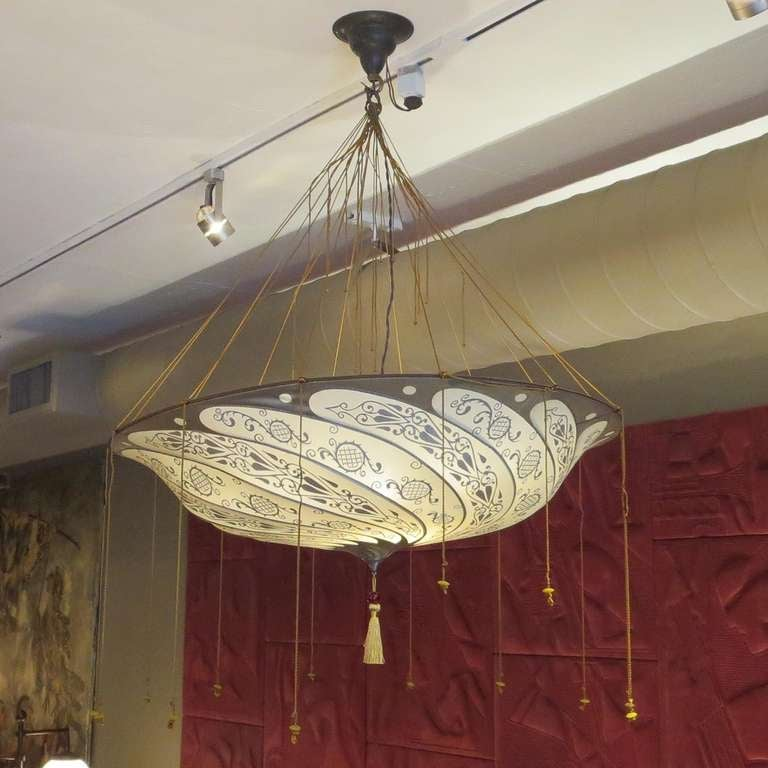 Fortuny hanging silk parasol chandelier two available at 1stdibs anglo indian fortuny hanging silk aloadofball Choice Image