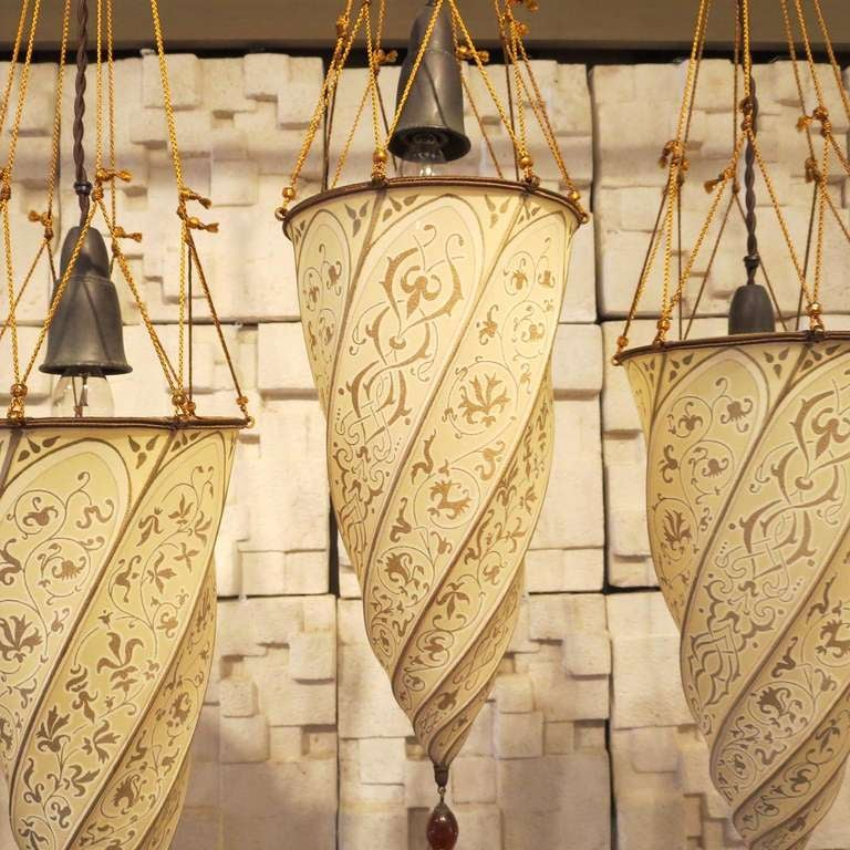 Fortuny Silk Hanging Lamps Group Of Five At 1stdibs