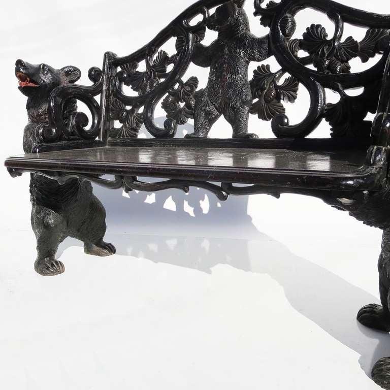 Black Forest Carved Black Bears Bench For Sale At 1stdibs
