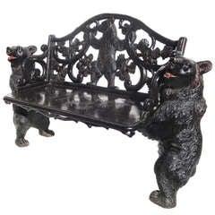 Black Forest Carved Black Bears Bench