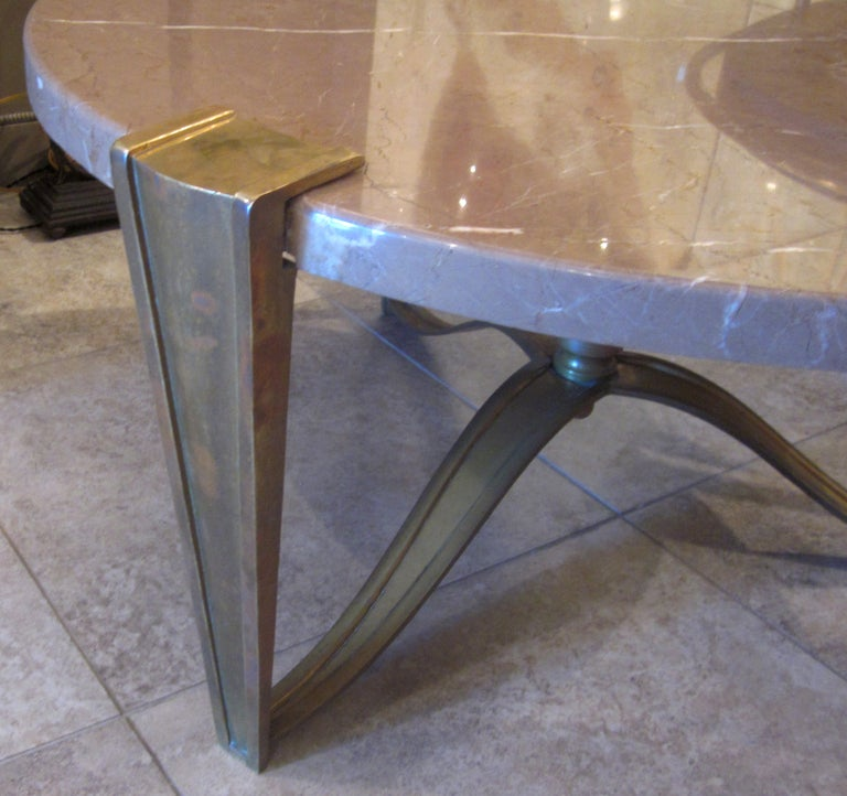 Marble Coffee Table Heavy: 1930's Bronze And Marble Coffee Table At 1stdibs