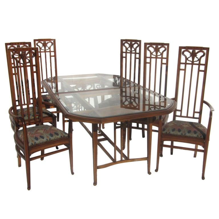 Art Nouveau Style Dining Table And Six Chairs At 1stdibs