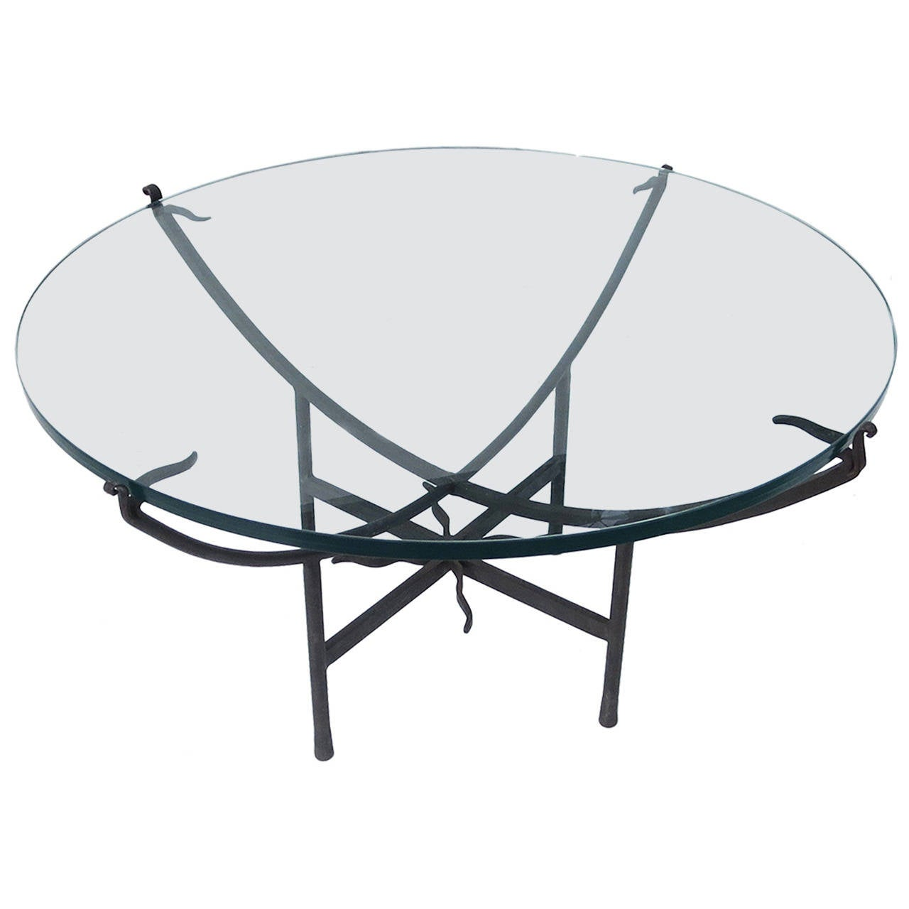 Elegantly Tasteful Iron And Glass Coffee Table For Sale At 1stdibs