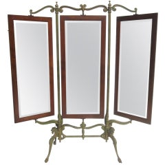 Gothic Iron & Oak Three Panel Standing Dressing Mirror