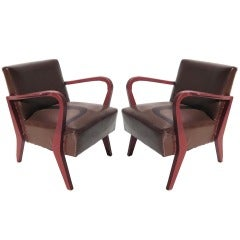 MV Augustus Ocean Liner Ballroom Pair of Chairs by Ugo Cara