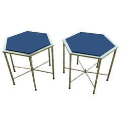 Mastercraft Hexagonal Brass and Glass Side Tables