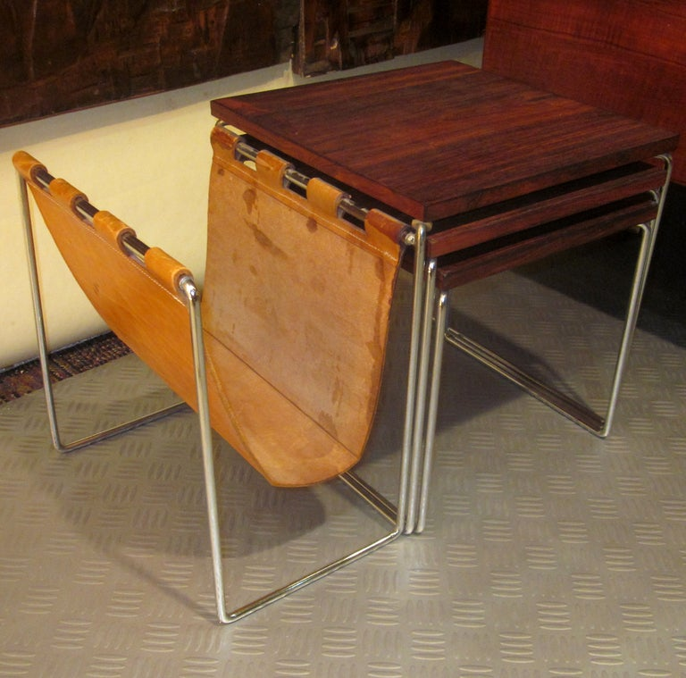 Rosewood and chrome nesting tables with attached magazine for 13 a table magasin