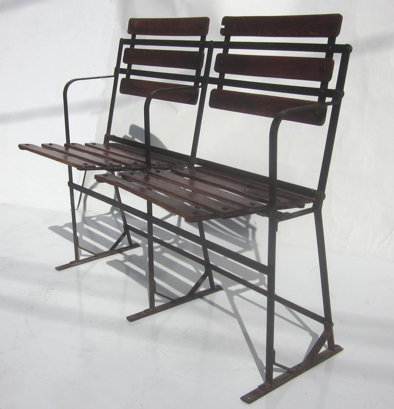 Early 20th Century French Folding Trolley Chairs Bench 2 Pairs Available