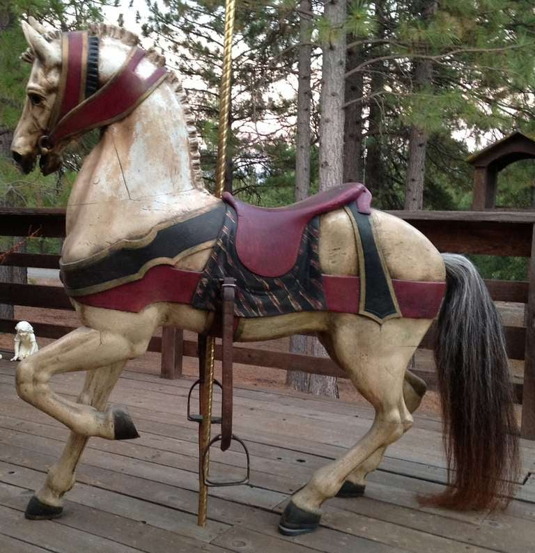 American Turn of the Century Dentzel Standing Carousel Horse For Sale