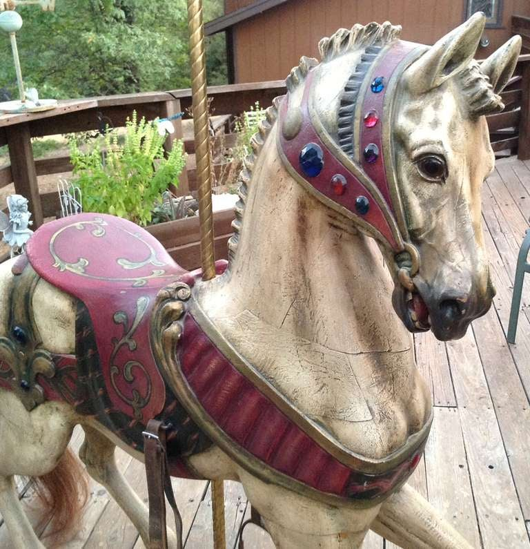 Carved Turn of the Century Dentzel Standing Carousel Horse For Sale
