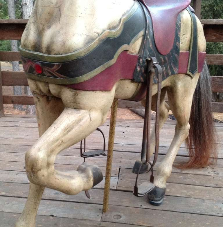 Turn of the Century Dentzel Standing Carousel Horse In Good Condition For Sale In Los Angeles, CA