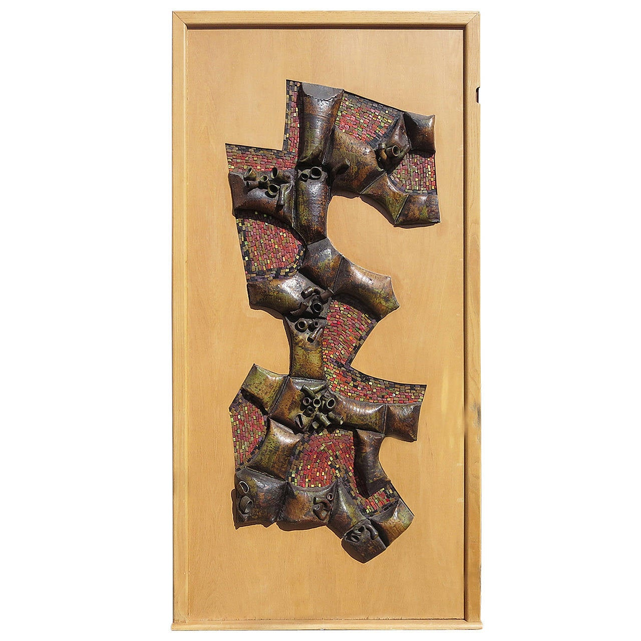 Mid Century Sculpted Panel In Glazed Ceramic And Mosaic Tile For