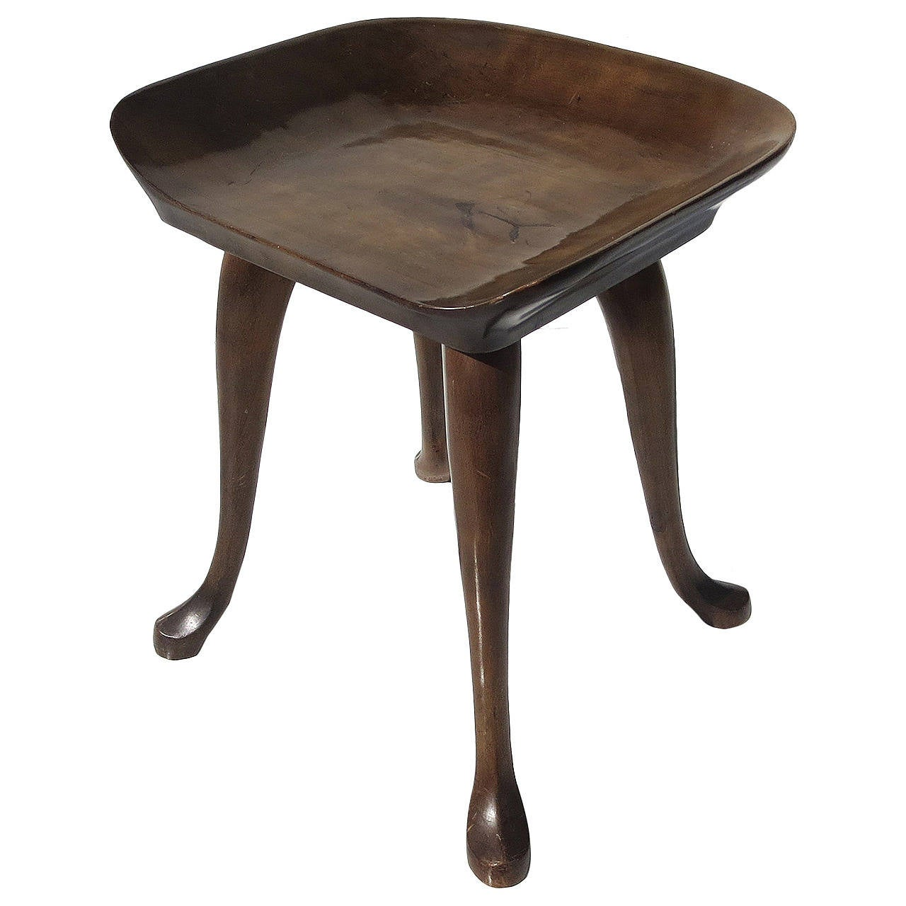 1960s Free Form Carved Walnut Stool By Jean Of Topanga For
