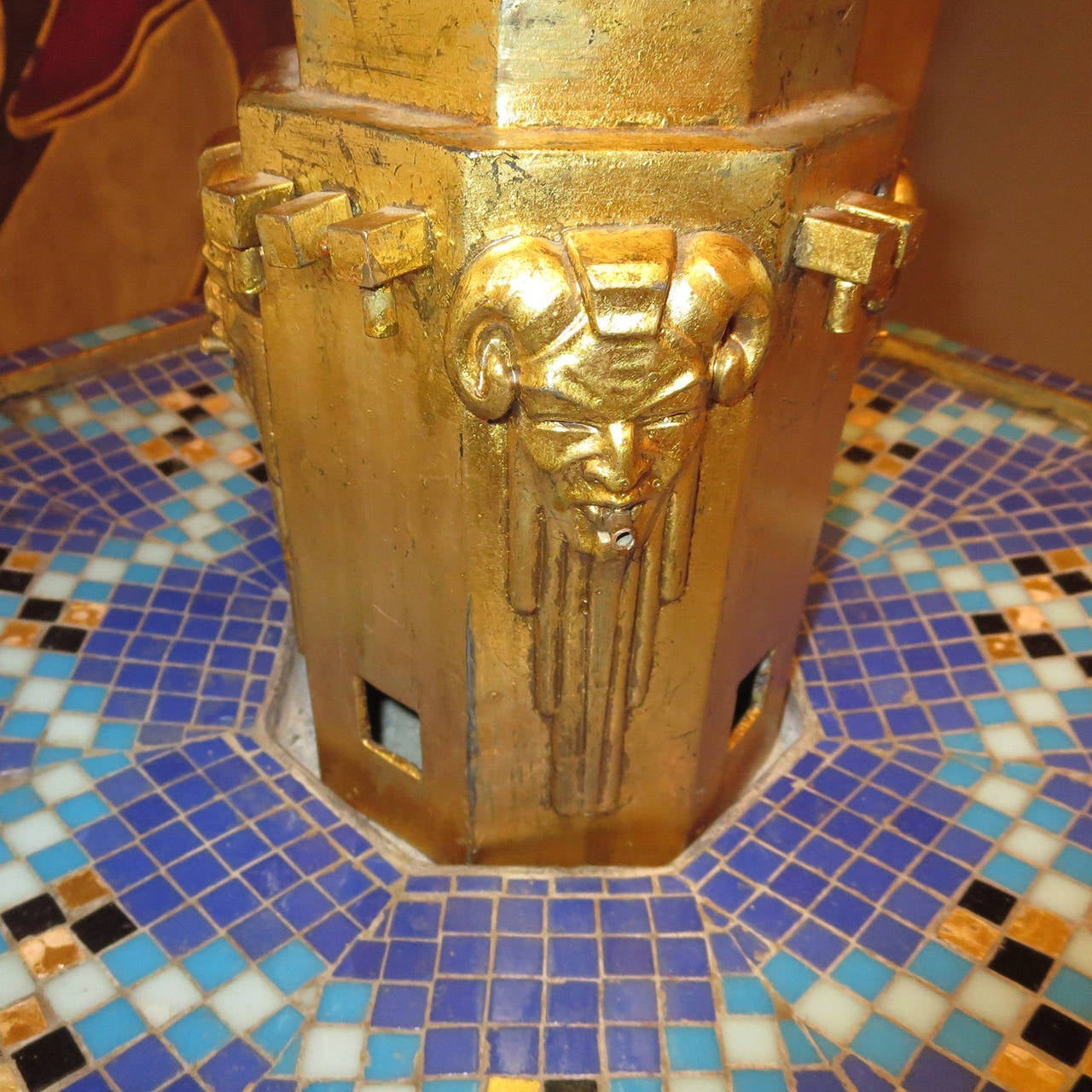 French Art Deco Home Fountain on Burl Wood Pedestal In Good Condition For Sale In Los Angeles, CA
