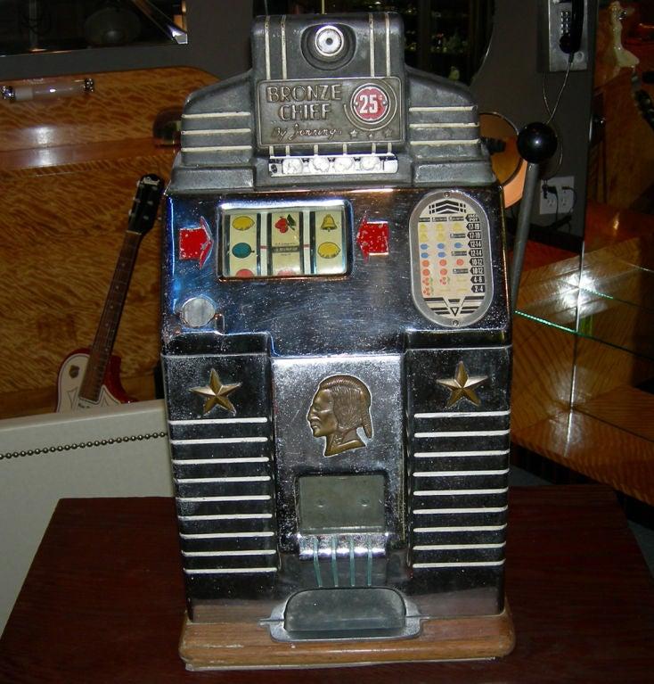 Jennings 25 Cent Bronze Chief Slot Machine At 1stdibs