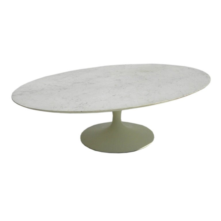 Oval Marble Topped Coffee Table By Saarinen For Knoll At 1stdibs