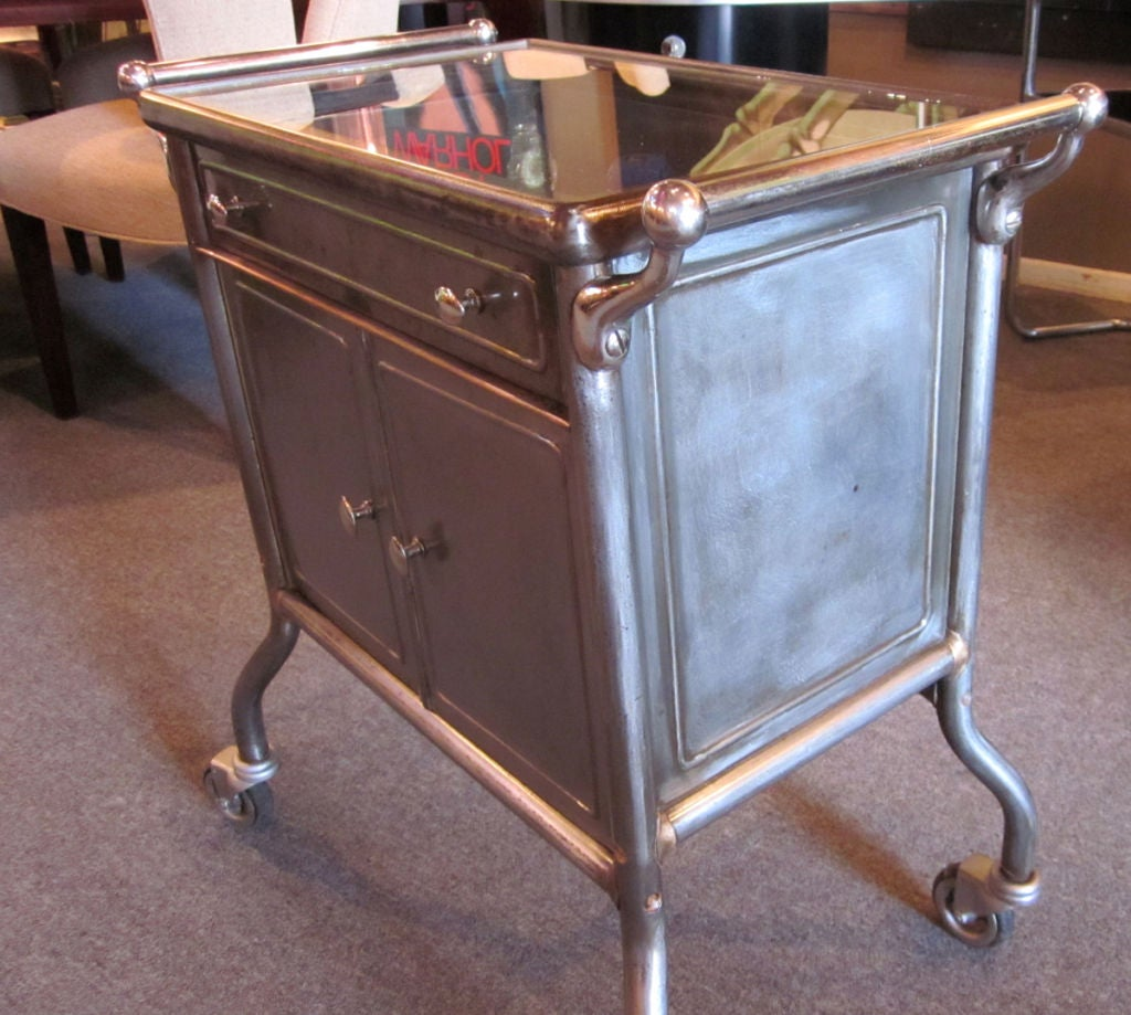 Flip And Fold Rolling Table Stainless Steel Wood: Steel Rolling Table / Display Cabinet At 1stdibs
