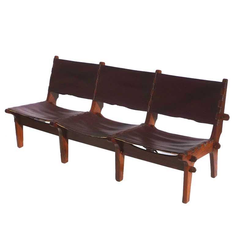 Mexican Modern Jacaranda Wood And Leather Sofa At 1stdibs