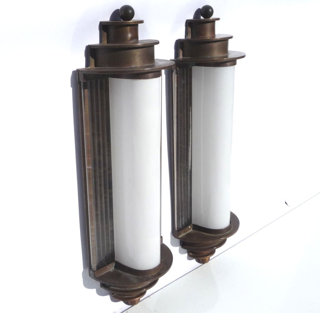 Art Deco Brass Wall Sconces : Warner Brothers Art Deco Bronze Wall Sconces at 1stdibs
