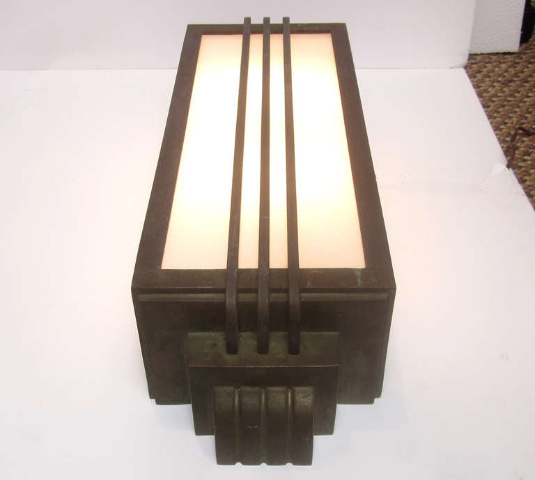 Pair of art deco bronze stepped exterior sconces at 1stdibs for Art deco exterior lighting fixtures