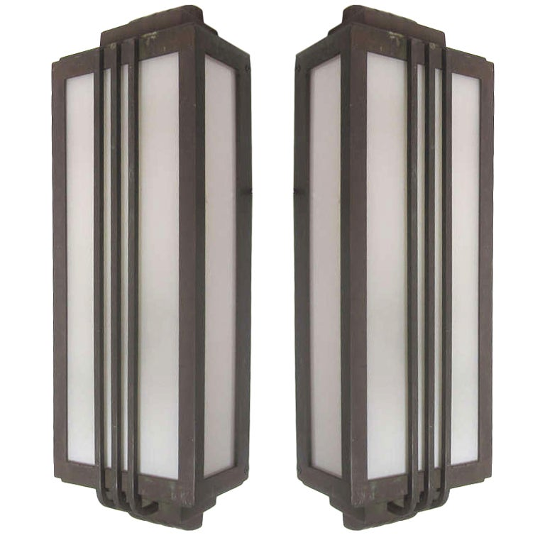 Pair of art deco bronze stepped exterior sconces at 1stdibs for Kitchen cabinets lowes with art nouveau wall sconce