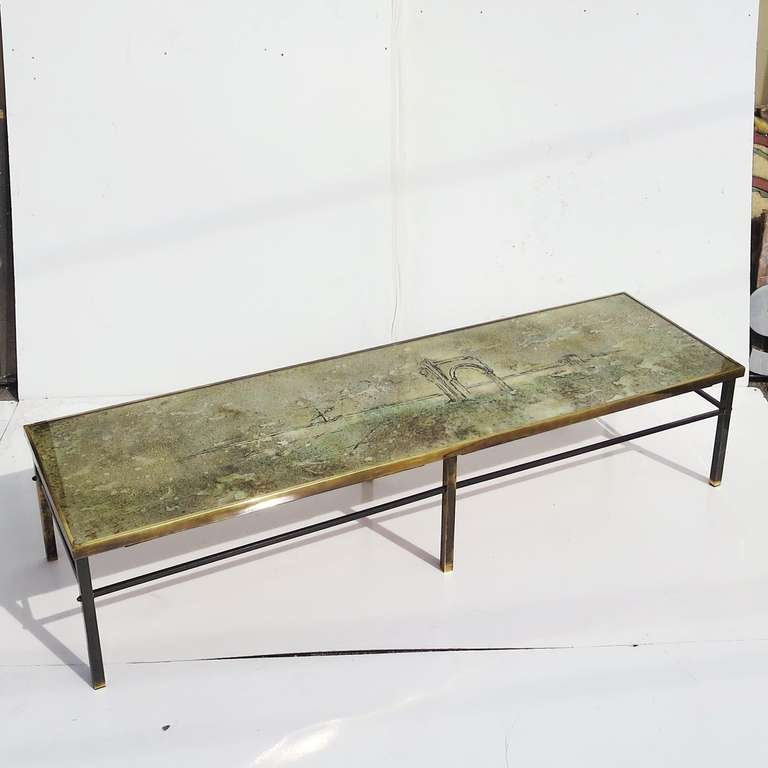 Mid Century Brass And Eglomise Glass Coffee Table At 1stdibs