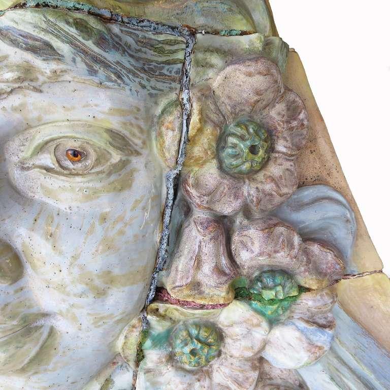 French Monumental Art Nouveau Architectural Glazed Terracotta Head For Sale