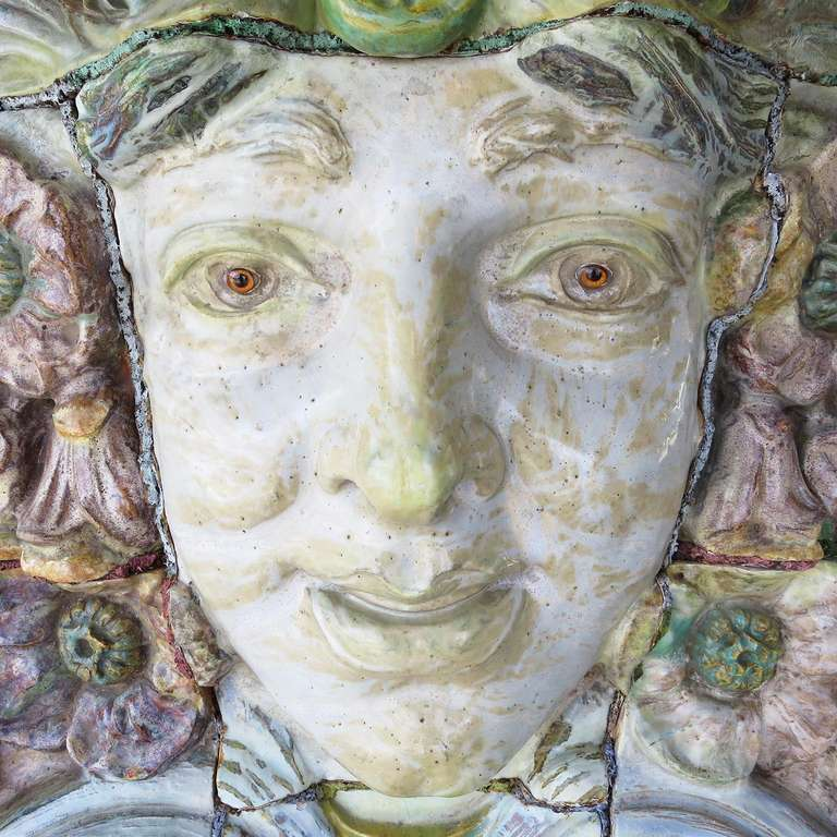 Monumental Art Nouveau Architectural Glazed Terracotta Head In Good Condition For Sale In Los Angeles, CA