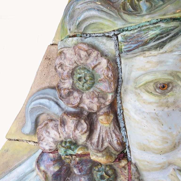20th Century Monumental Art Nouveau Architectural Glazed Terracotta Head For Sale