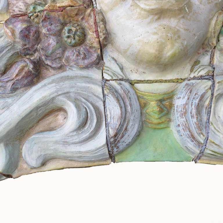 Monumental Art Nouveau Architectural Glazed Terracotta Head For Sale 2