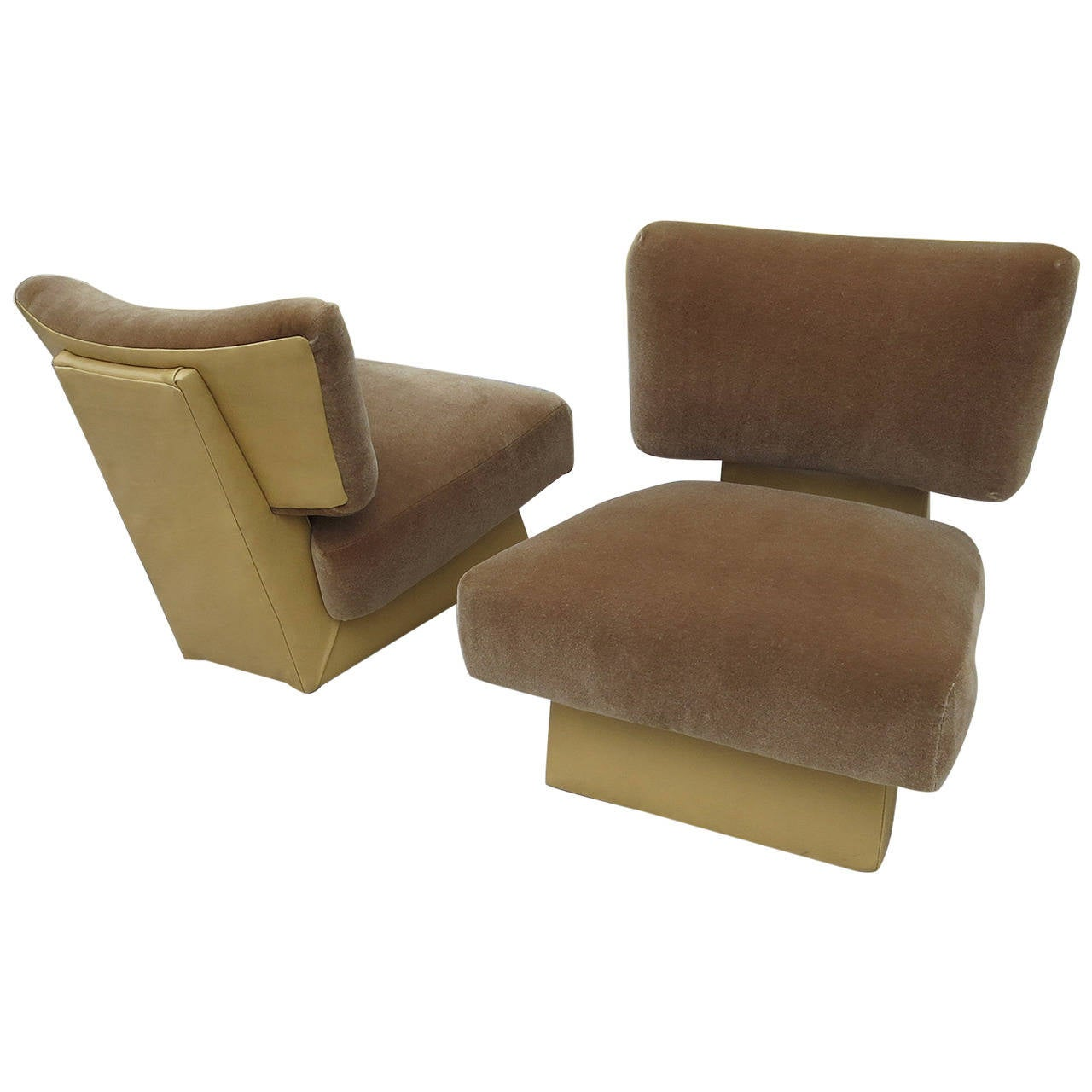 Art Deco Slipper Chairs in Leather and Mohair at 1stdibs