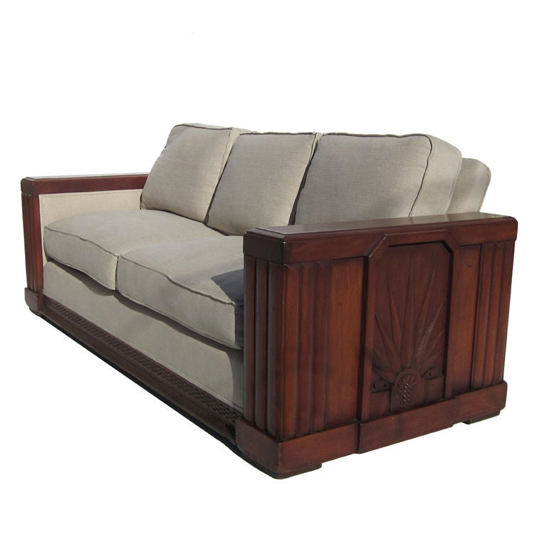 Pantages theater hollywood art deco sofa at 1stdibs for Art deco style sofa