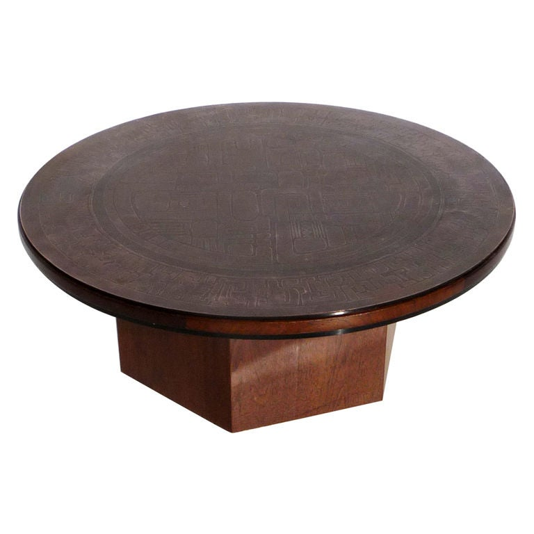 Etched Copper Topped Coffee Table By G Urs At 1stdibs