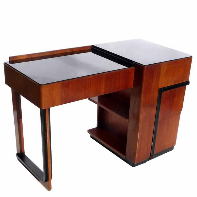 Streamlined Art Deco Desk With Expanding Top For
