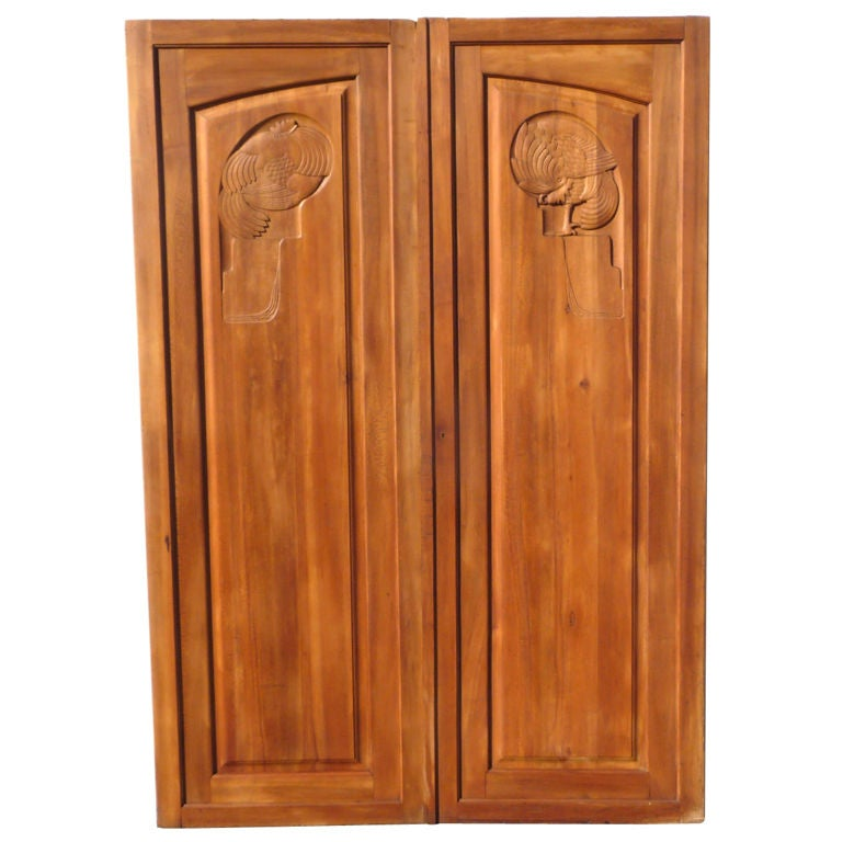 Large french art deco carved doors for sale at 1stdibs for Large french doors