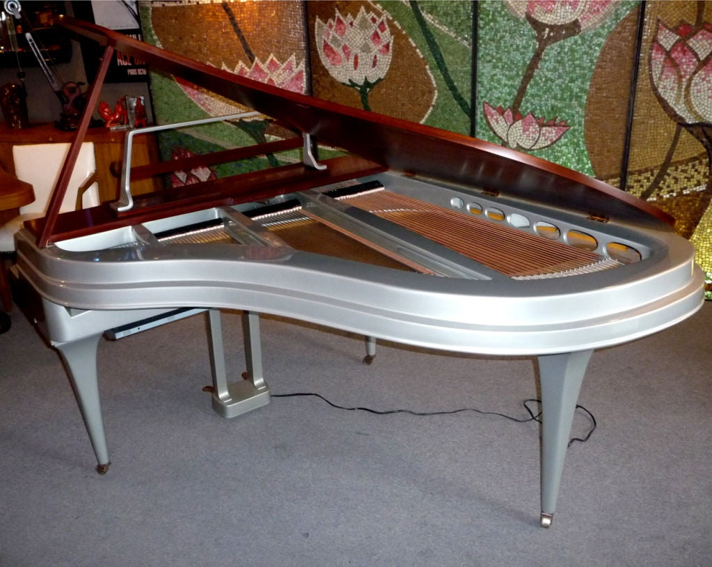 Mid Century Aluminum Grand Piano by Rippen 2