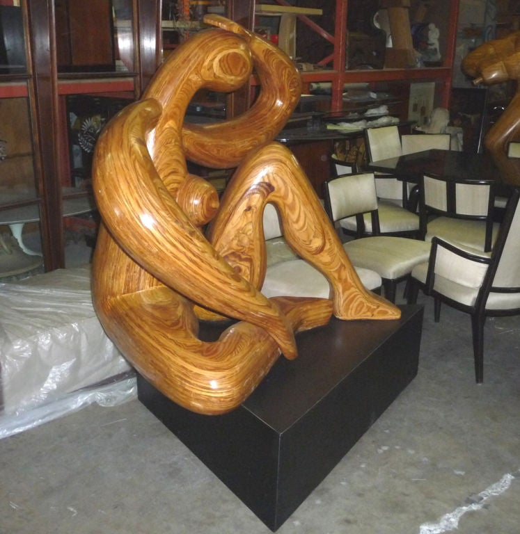 American Monumental Carved Wood Nude Sculpture by Hy Farber For Sale