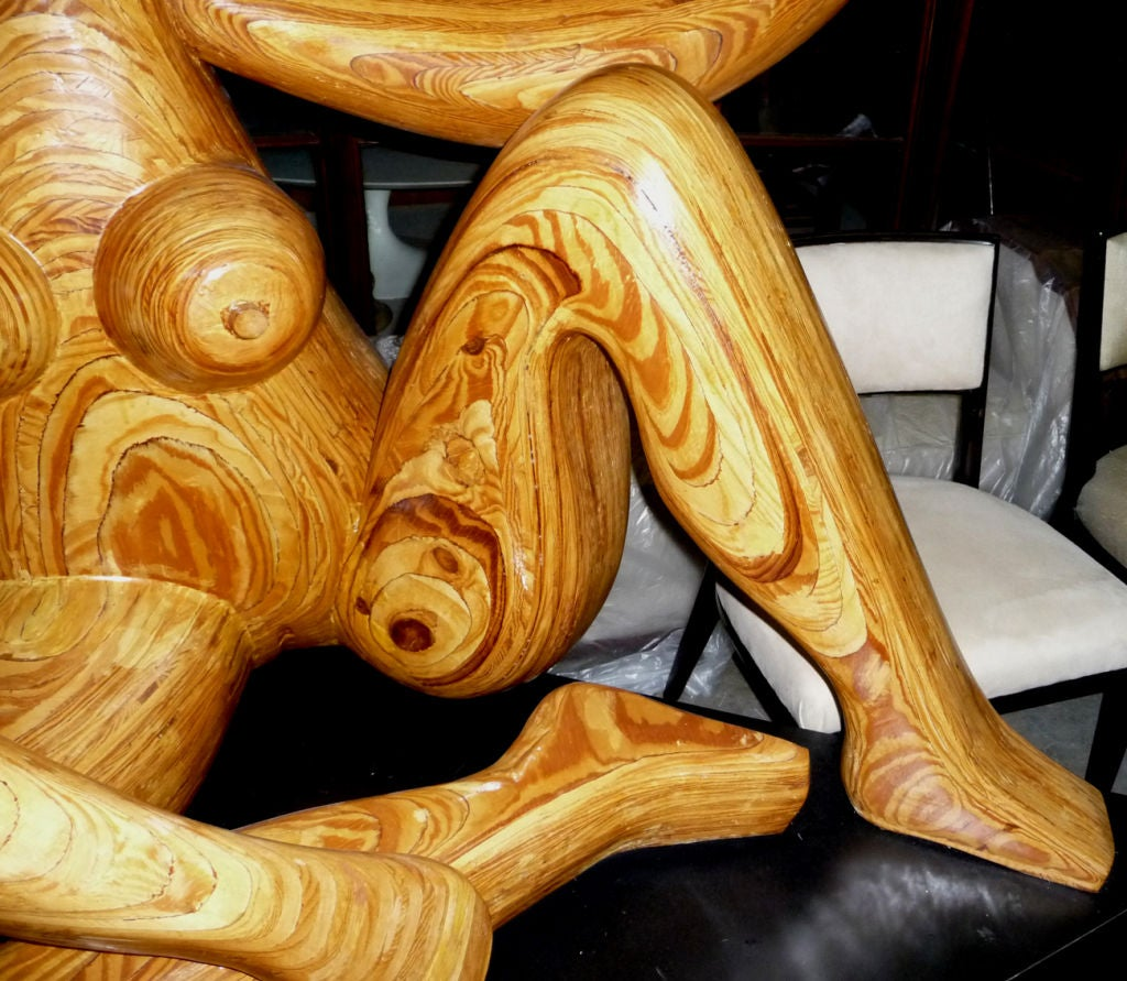 Monumental Carved Wood Nude Sculpture by Hy Farber In Good Condition For Sale In Los Angeles, CA