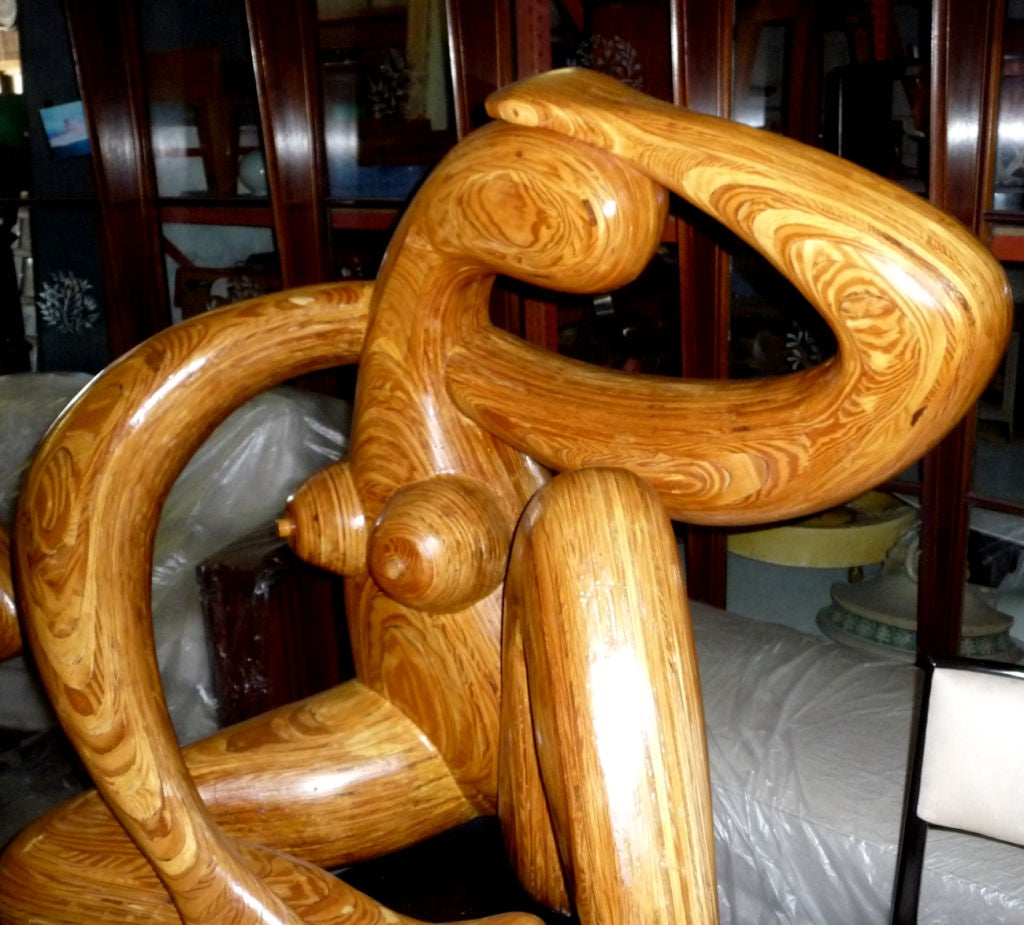 Laminate Monumental Carved Wood Nude Sculpture by Hy Farber For Sale