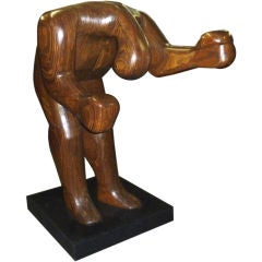 Monumental Carved Wood Boxing Sculpture by Hy Farber