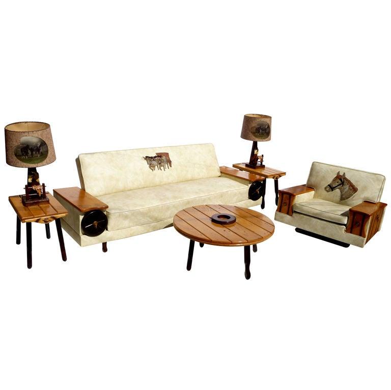 Western Themed Living Room Ensemble For Sale